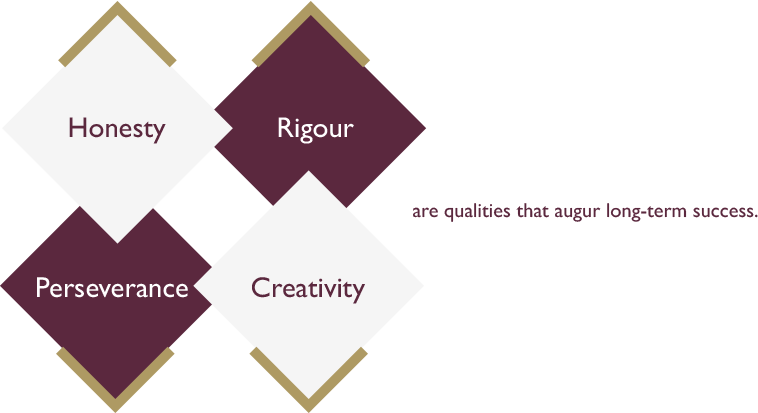 Honesty, rigour, perseverance and creativity are qualities that augur long-term success.